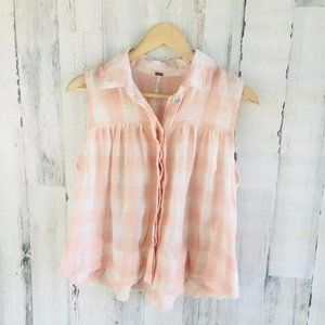 Free People Hey There Sunrise Tank Top Gingham
